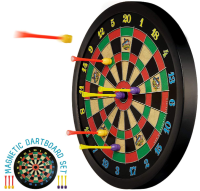 This is an image of kid's Magnetic dart board wutg 6 darts in black color