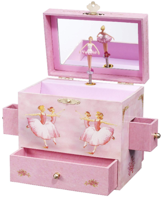 This is an image of kid's Musical jewlery box in pînk color