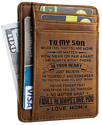 This is an image of boy's leather frond wallet