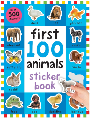 This is an image of kid's 100 animals sticker book with 500 pieces
