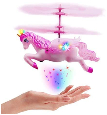 This is an image of kid's unicorn drone toys in pink color