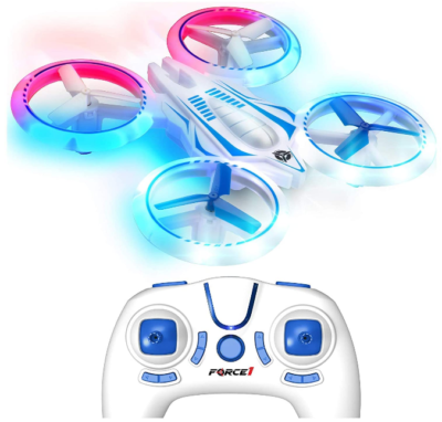 This is an image of boy's LED mini drone for kids in white/blue colors