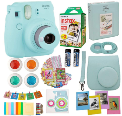 This is an image of kid's Fujifilm instax mini 9 pack in turquoise blue color