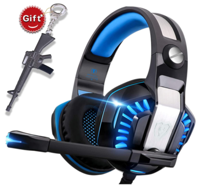 This is an image of boy's Headset for gaming consules or pc in black and blue colors