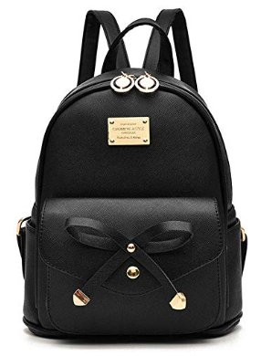 This is an image of kid's Leather backpack purse in black colors