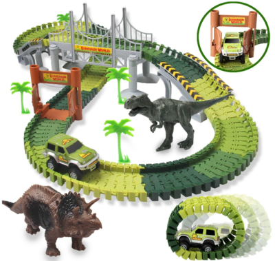 This is an image of kid's Dinosaur toys with 142 pieces in colorful colors