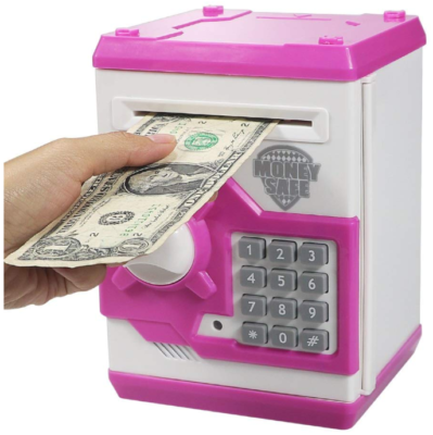 This is an image of kid's electronic piggy banks in white and pink colors