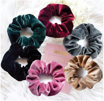 This is an image of girl's Scrunchies hair bands pack with different colors