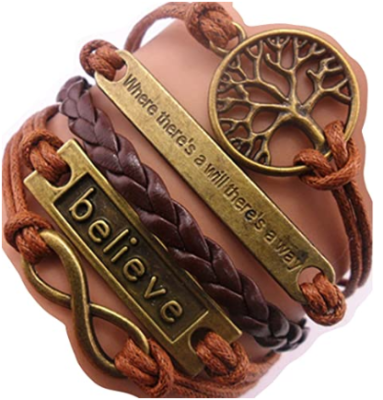 This is an image of girl's leather bracelet charm in multi-colors