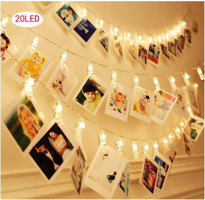 This is an image of girl's LED photo string lights