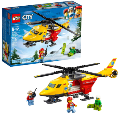 This is an image of kid's LEGO ambulance helicopter building kit