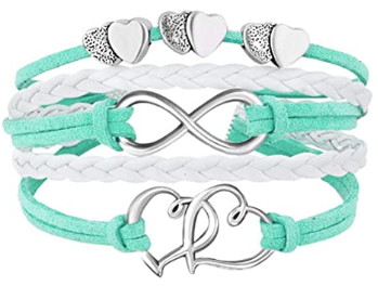 This is an image of kid's Leather bracelets double heart in turquoise and white colors