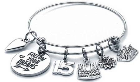 This is an image of girl's birthday gift bracelet charm in silver color