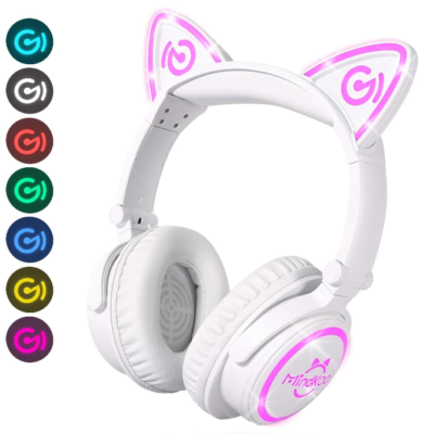This is an image of girl's bluetooth headphone with cat ears in white and pink colors