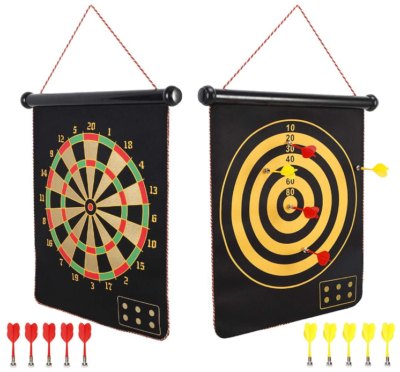 This is an image of boy's magnetic dart board outdoor in black color