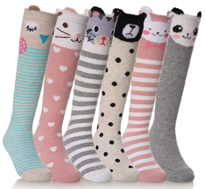 This is an image of kid's knee high socks pack in colorful colors