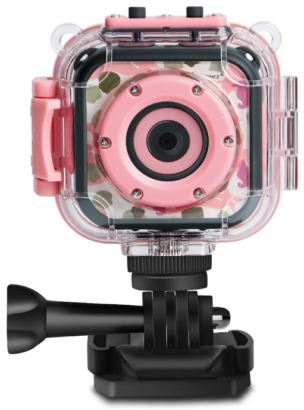 This is an image of kid's waterprrof digital action camera in pink color