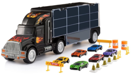 This is an image of kid's truck transport car carrier with 6 cars accessories