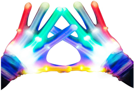 This is an image of girl's colorful flashing LED gloves