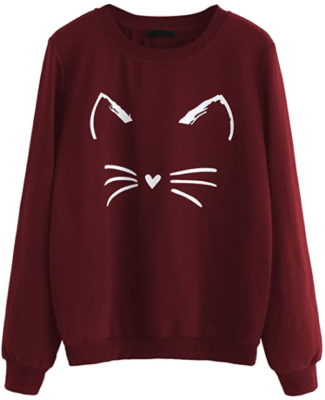 This is an image of girl's sweatshirt with long sleeve and Cat print. Burgundy
