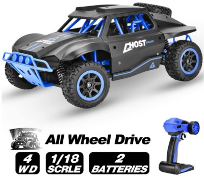 This is an image of boy's rainbrace Remote control car with 4wd in grey and black colors