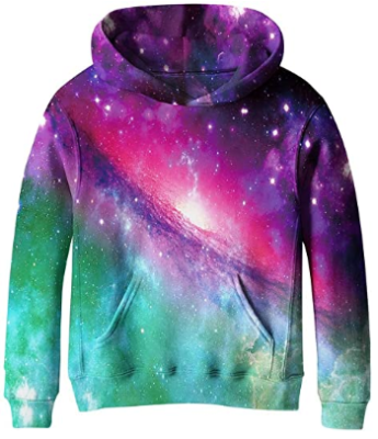This is an image of kid's galaxy fleece pockets sweatshirts in colorful colors