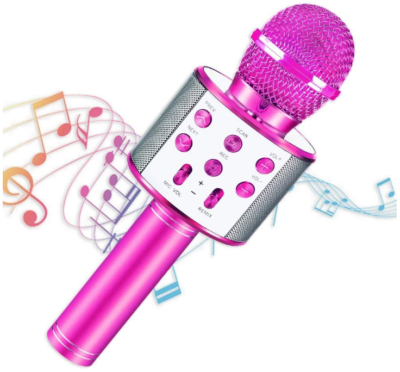 This is an image of girl's bluetooth portable karoke microphone in pink color