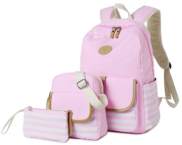 This is an image of kid's backpack with bookbags and money bag in pink color