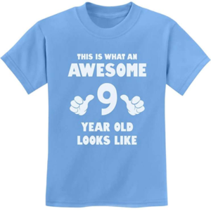 this is an image of a 9th birthday t-shirt