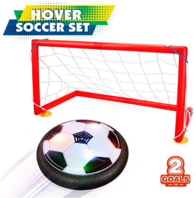 This is an image of girl's soccer ball set with 2 goals in red color