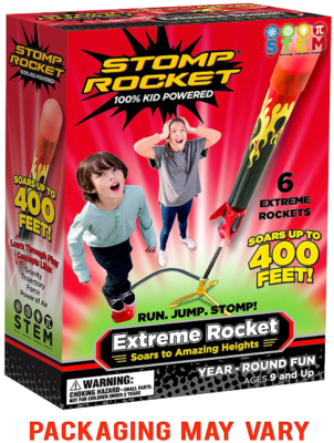 This is an image of kid's 6 rockets launcher in red and black colors