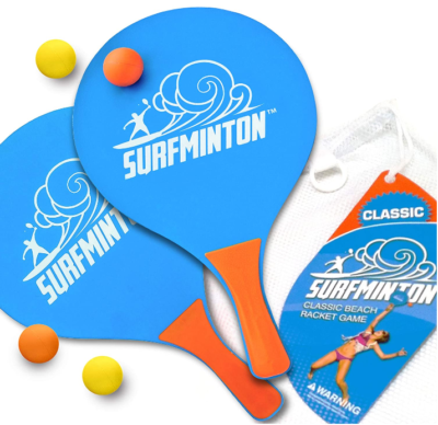 This is an image of kid's classic beach tenis wooden paddle in orange and blue colors