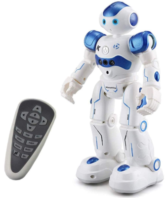This is an image of kid's Remote control robot toy in white and blue colors