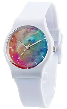 This is an image of girl's white classic watch