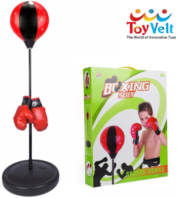 This is an image of girl's punching bag for kids boxing set in red and black colors
