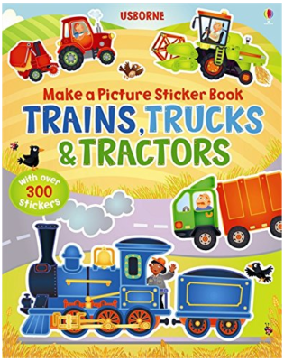 This is an image of kid's trains trucks and tractors sticker books