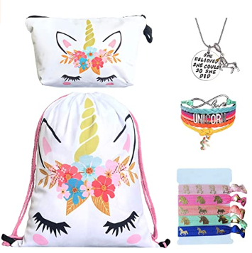 This is an image of kid's unicorn drawstring backpack in colorful colors