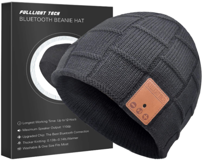 This is an image of boy's Bluetooth beanie hat in grey color