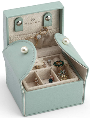 This is an image of girl's wooden jewelry box organizer in blue turquoise color