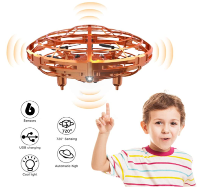 This is an image of boy's mini drone in golden color
