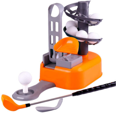 This is an image of kid's Set golf ball game with educational outdoors in orange and gray colors