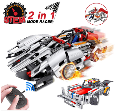 This is an image of boy's STEM remote control with racing car building kit