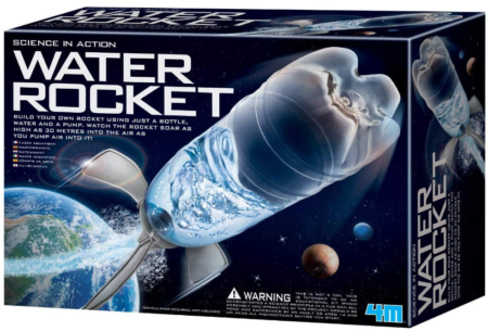 This is an image of boy's 4M water rocket DIY kit