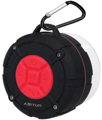 This is an image of boy's portable wireless shower speakers in black and white colors