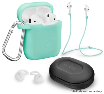 This is an image of girl's airpods accessories in green color by Filoto