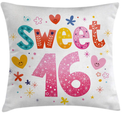 This is an image of girl's 16th birthday pillow with awesome graphics
