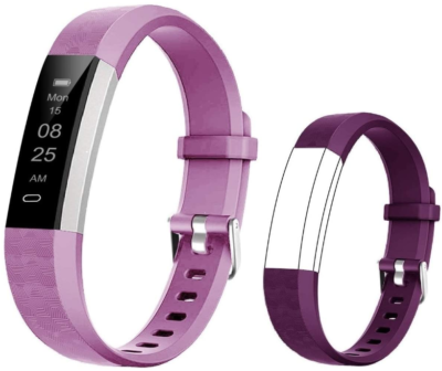 This is an image of girl's fitness tracker watch in purple color