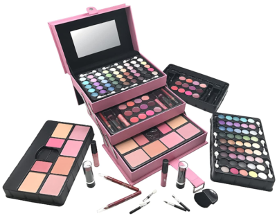 This is an image of girl's one makeup kit in pink color