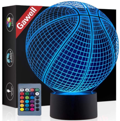 This is an image of boy's 3D basketball illusion lamp with Remote control
