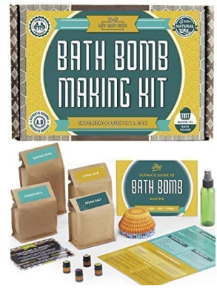 This is an image of girl's bath bomb kit making